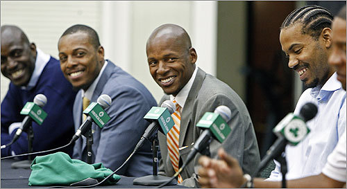 The Big Three: (from left) Kevin Garnett, Paul Pierce, and Ray Allen, surprised Wallace by showing up for the news conference welcoming him to Boston. Read the Boston Globe article Welcoming committee Read the Bob Ryan column Winning at home has new meaning