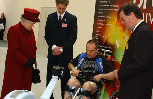Rowing with Functional Electrical Stimulation (FES) electrodes was developed by British biomechanical engineer Brian Andrews (right). One of his first paraplegic rowers was Robin Gibbons, rowing here for the Queen of England. Gibbons' muscular legs inspired Dave Estrada to dedicate himself to the sport. 'The physical benefits [of rowing] are immense, but I don't believe they're as big as the psychological benefits,' says Gibbons. 'After a spinal cord injury, everybody has to go through the process of trying to find self-worth again.'