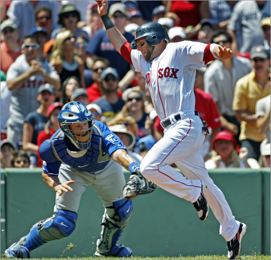 The Red Sox' first run of the game, and the only one that they would need, came courtesy of a nice base running move by Dustin Pedroia, who sidestepped the tag attempt of Royals catcher John Buck around 10 feet from the plate and scored from second on a first-inning Kevin Youkilis single.