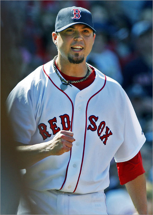 The only jam Red Sox starting pitcher Josh Beckett got into today was in the seventh inning, when the Royals had runners on first and third with one out. But when Beckett he got Kansas City's Brayan Pena to hit into an inning ending double play, he pumped his first and howled in approval as he saw the out call at first.