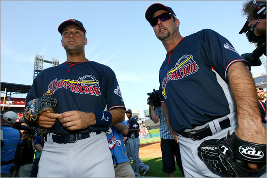 Derek Jeter (left) of the Yankees and Red Sox pitcher Tim Wakefield stood on the field in St. Louis.
