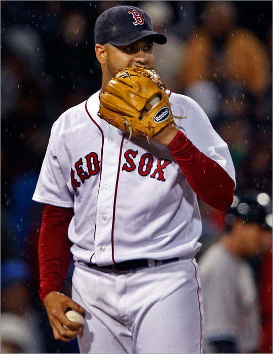 Though this is the obvious strength of the team -- the Sox lead the American League in relief ERA (3.42) and rank third in baseball -- the last two weeks have been prompted some questions: Are the relievers getting tired? Are the Sox vulnerable against lefthanded batters? Has the early-season ineffectiveness of the starters caught up with the relievers? Beginning with the unforgettable implosion against Baltimore on June 30, Sox relievers are 2-4 with a 6.95 ERA in their last 33 2/3 innings while allowing opponents to bat .309 against them. Two meltdowns against the Orioles and Royals skew those numbers some, but it should be noted that lefthanded batters went a combined 8 for 17 (a .471 average) in those games against Justin Masterson and Manny Delcarmen (pictured). Could Epstein be eying a lefty reliever, too?