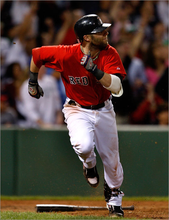 On every team, there are those players who finish strong ... and those who fade away. So, while someone like Dustin Pedroia (pictured) hit .345 after the All-Star break last season, it is worth paying some attention to those Sox players that have worn down in the past. Of course, the most obvious example is catcher Jason Varitek, whose career average in September (.229) is his lowest of any month. Before last season, when he was a force from wire-to-wire, Kevin Youkilis batted .306 in the first half, .244 in the second. Mike Lowell's career OPS in the second half (.761) is noticeably lower than his OPS in the first (.845).
