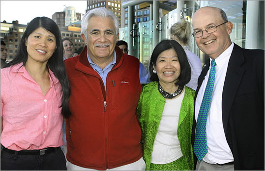 Chiofaro (second from left) posed with guests at the opening celebration of the New Balance Foundation Marine Mammal Center at the New England Aquarium earlier this month. Chiofaro has confronted opposition to his tower plans using every venue he can to advocate for his vision. He attends events where the mayor is set to speak on development and chats up neighbors and city officials.