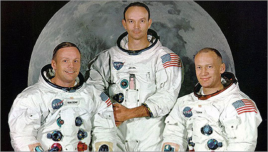 Apollo 11 astronauts (from left) Neil Armstrong, Michael Collins, and Edward 'Buzz Aldrin pose in this file photo. Tuesday, July 21, 2009 marks the 40th anniversary of the moon landing.