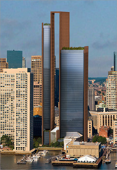 A closer look at the rendering for the towers under the original proposal, which featured an unusual flourish at the top: a 770-foot rectangular bracket, or skyframe, as Chiofaro called it, linking the two towers.