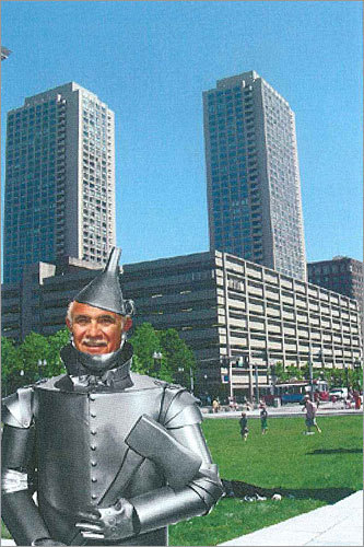 Chiofaro's filing with the city generated allegations he had a 'tin ear,' prompting Chiofaro to employ a bit of self-deprecating wit by handing out a doctored image of himself dressed as the Tin Man from 'The Wizard of Oz' during a meeting with Boston Redevelopment Authority officials.