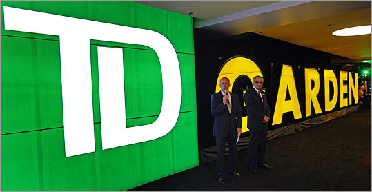 Boston's largest indoor arena underwent yet another name change Thursday when it lost the 'Banknorth' from its moniker to officially become the TD Garden. Here, president of Delaware North Companies John Wentzell and TD Bank CEO Bharat Masrani unveiled the new signage.