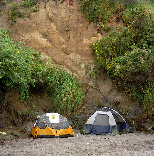 Tents on the beach in Bolinas.
