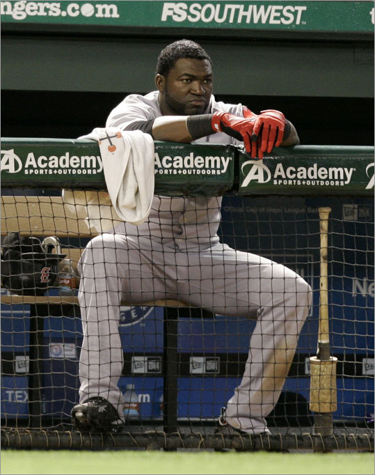 David Ortiz looks on in the eighth inning as the Sox drop out of first place after losing their fourth straight game.