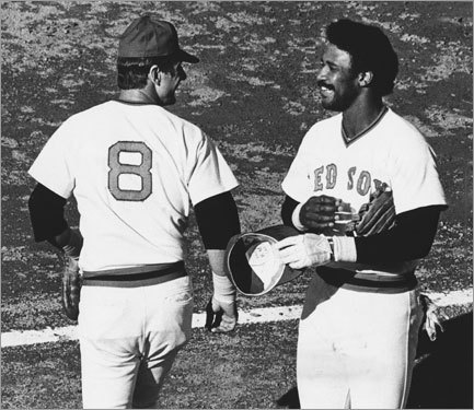 Carl Yastrzemski, sharing a laugh in 1978, made it easy for Jim Rice to take his place in left.