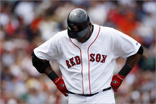 David Ortiz showed his frustration over a run-less bottom of the fourth inning.