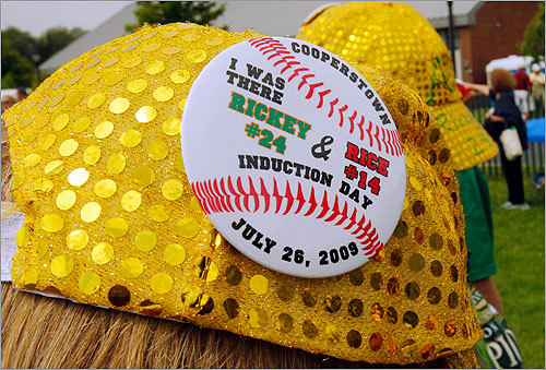 One fan marked the occasion with a special pin attached to a unique ball cap.