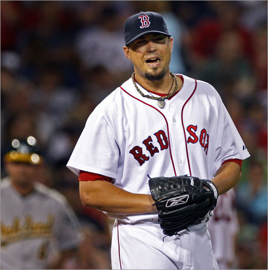 ... and signals the end to Josh Beckett's night. Beckett allowed three runs on eight hits in seven innings, and struck out 10 batters en route to his 12th win of the season.