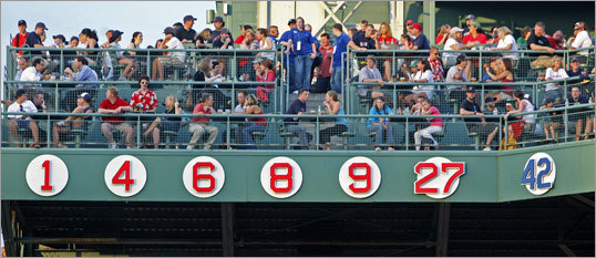 A view of the right field facade at Fenway Park before Rice's No. 14 was installed.