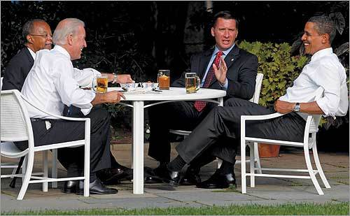Vice President Joe Biden, Harvard professor Henry Louis Gates, Jr., Cambridge police Sergeant James Crowley, and President Obama met Thursday for a conversation over beers at the White House.