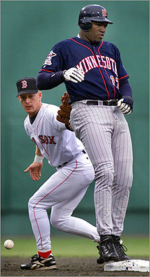 Seen here avoiding a sweep tag from the Red Sox' Jeff Frye in 2000, Ortiz became more of an everyday player, but he could hardly be called a star. In 130 games Ortiz hit .282 with 10 home runs and 63 RBIs.