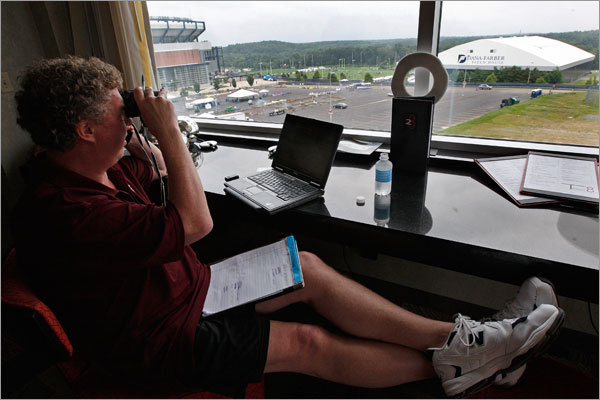 A comfy Dan Shaughnessy has a nice view of the Patriots' practice field from the fifth-floor concierge lounge at the Renaissance Hotel and Spa at Patriot Place ...