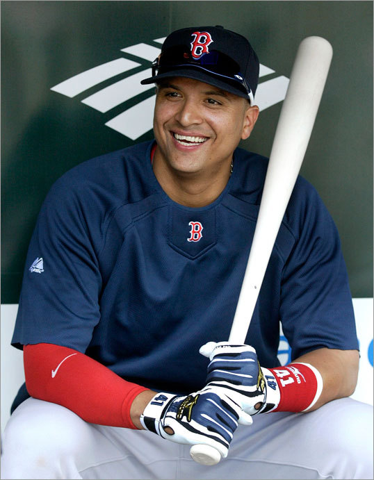 Acquired from the Cleveland Indians the day before, Red Sox catcher/first baseman Victor Martinez sat in the dugout before making his debut Saturday night against the Orioles.