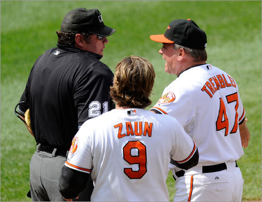 Orioles manager Dave Trembley (47) argued with home plate umpire Hunter Wendelstedt before being ejected in the fourth inning.