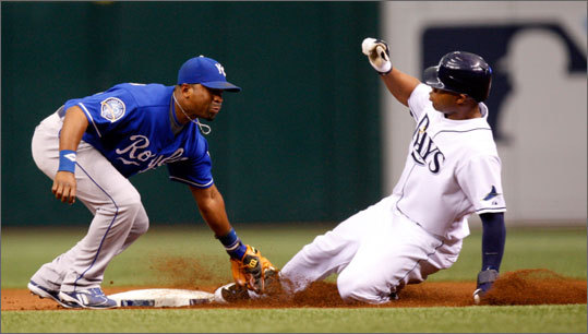 In their last, meeting the Rays' Carl Crawford tied a modern major league record by stealing 6 bases in a single game against the Red Sox. Even with this advantage, Jacoby Ellsbury has caught Crawford for the league lead in steals with 48.