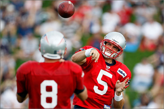 Backup quarterbacks Kevin O'Connell and Brian Hoyer toss the ball around in Foxborough.