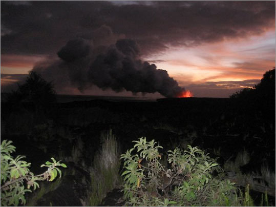Hawaii Volcanoes National Park at sunset in October 2008.