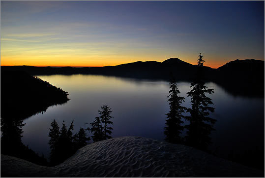 The west rim of Crater Lake National Park on an early June morning.