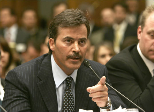 Rafael Palmeiro Palmeiro denied using steroids at a 2005 Congressional hearing. Three months after testifying, Palmeiro was suspended 10 games for testing positive for an illegal substance. Palmerio went on to deny ever knowingly using steroids and blaming Miguel Tejada for his positive test. He continues to deny ever having knowledge of putting any illegal substance into his body.