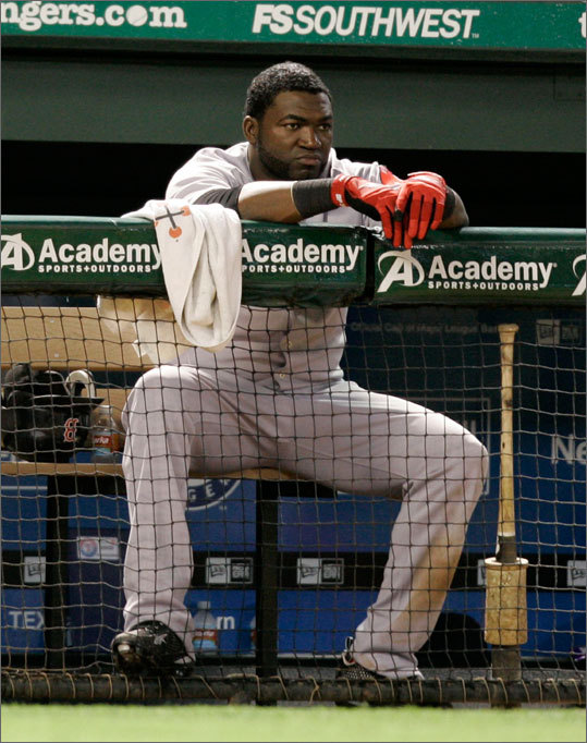 Who knows if it stems from last Thursday's revelation that he failed a test for performance-enhancing drugs in 2003, but Big Papi has regressed to Little Papi at the plate recently. He's currently mired in an 0-for-17 slump, he left three runners in scoring position in the early innings last night, and his average has slipped to .222.