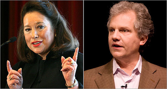 The New York Times Co.'s chief executive, Janet Robinson, and chairman Arthur O. Sulzberger Jr. said deep concessions by The Boston Globe's unions and other measures have helped put the newspaper on the path to long-term survival.