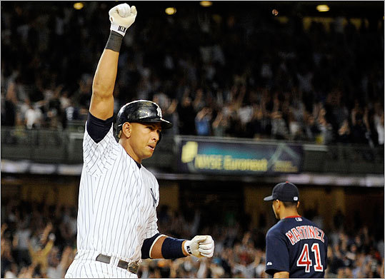 Yankees slugger Alex Rodriguez's two-run home run off rookie Junichi Tazawa in the 15th inning ended a 5-hour-33-minute-marathon with the Red Sox