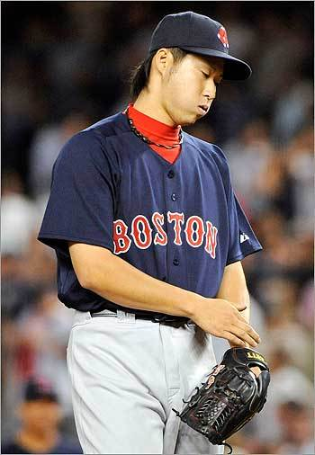 Red Sox pitcher Junichi Tazawa reacted during the 14th inning. Tazawa made his major league debut, but took the loss after giving up the two-run homer to Rodriguez in the 15th inning. Tazawa, called up Friday, faced nine batters, striking out two and surrendering four hits.