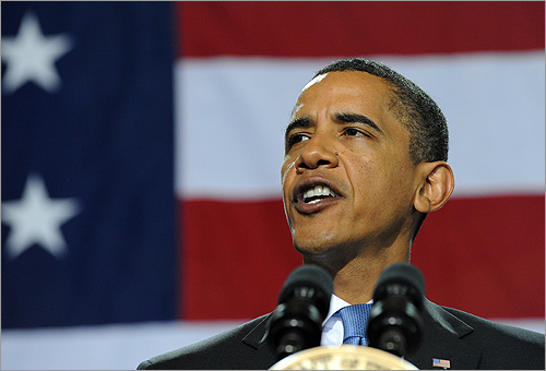 President Barack Obama brought his push for healthcare reform to a town hall today in Portsmouth, N.H.