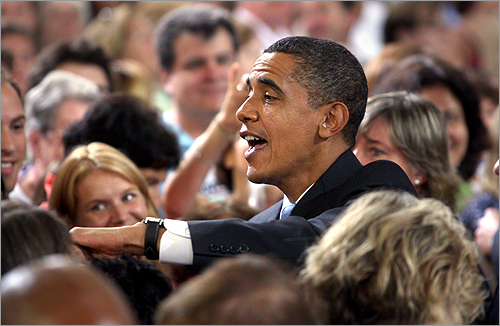 Obama mingled with the crowd after speaking today.