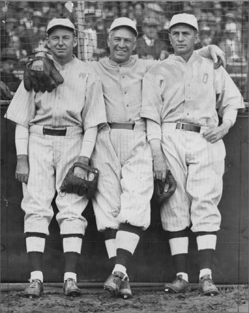 Tris Speaker (center) and Harry Hooper (right) are two of the all-time basestealers in Red Sox history. Harry Hooper stole 40 bases in 1910, then a franchise record. Two years later his teammate, Speaker, swiped 52 bags. The Hall of Famer also stole 46 in 1913 and 42 in 1914. Hooper and Speaker rank one and two in Red Sox stolen base history -- Hooper had 300 while playing for the Sox while Speaker stole 267.