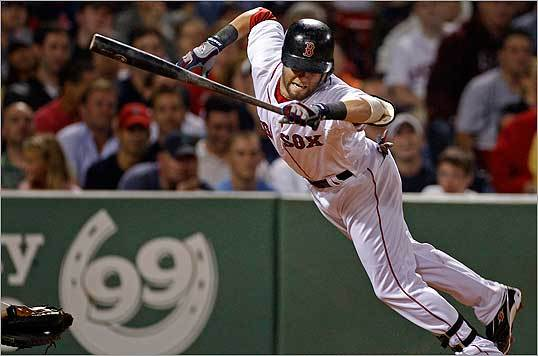 Dustin Pedroia jumped out of the way of a pitch from Zach Miner in the fifth inning.