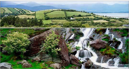 The barren Caha Mountains (top) are the backdrop to farms on the Beara Peninsula, and the Gleninchaquin Park waterfall cascades 300 feet.