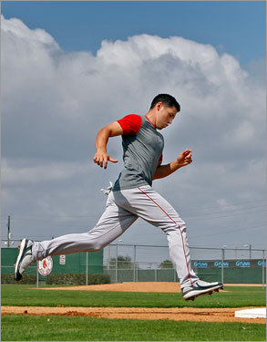 He ate five meals a day one off-season. It was part of a regimen that included yoga, weights, shoulder 'pre-hab' (to prevent injury), and tubing, as well as sleeping 10 hours a night. He gained 12 pounds, to 187. At left, Ellsbury ran the bases during conditioning drills at spring training.