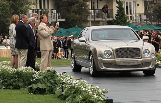 Among the classics are various new model introductions, including the 2011 Bentley Mulsanne, named after the famous stretch at LeMans. California Governor Arnold Schwarzenegger and Jay Leno spoke about this all-new Bentley, except they didn't reveal the specs on the mechanical bits. We'll have to wait until Frankfurt for that.