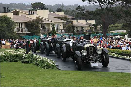 A row of 8-liter 'blower' Bentleys graced the main stage.