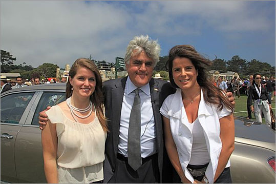 Former Tonight Show host Jay Leno posed in front of the 2011 Mulsanne with Bentley PR manager Valentine O'Connor and Emel Dilek, formerly of Mercedes.