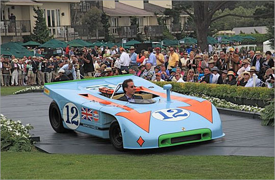 Longtime Porsche collector Jerry Seinfield showed his 1970 Porsche 908 Spyder in Gulf racing livery. He was awarded second place in the Porsche class.