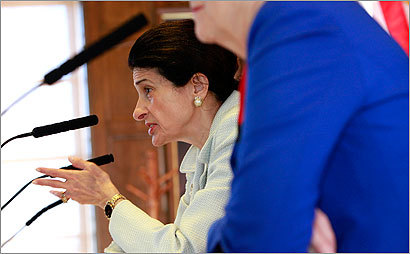Senator Olympia Snowe addresses and listens to small business owners talk about issues at Portland City Hall in Portland, ME on August 12, 2009.