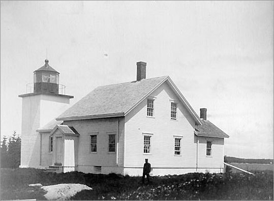 Deer Island Thorofare Light, on Penobscot Bay, was built in 1857. It marks the west end of Deer Island Thorofare, which runs from Penobscot Bay to Jericho Bay. An explosion destroyed the keeper's house in 1958. The lighthouse is maintained by Island Heritage Trust, and is not open to the public.