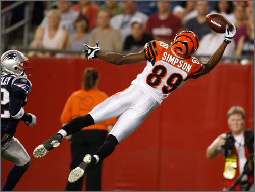 Bengals wideout Jerome Simpson makes a fingertip grab in the end zone in the second quarter. The play would be called back for offensive pass interference.