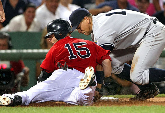 Alex Rodriguez put the tag on Pedroia at third during the third inning.