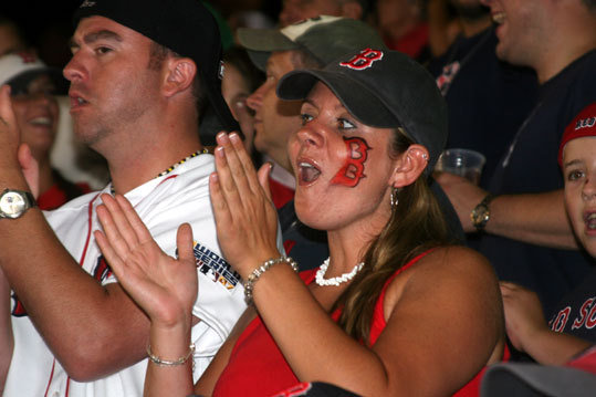 Erica Davenport from North Providence, R.I., kept the enthusiasm going in the bleachers as the Red Sox rallied to score three runs in the sixth inning.