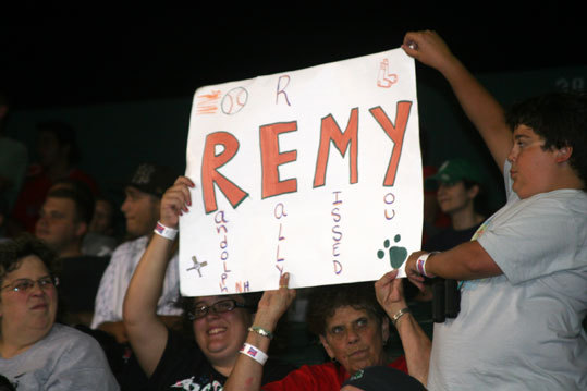 Not sure if we mentioned that there were a few signs welcoming back Jerry Remy at Fenway Park on Friday night. The crew from Randolph brought this one along.
