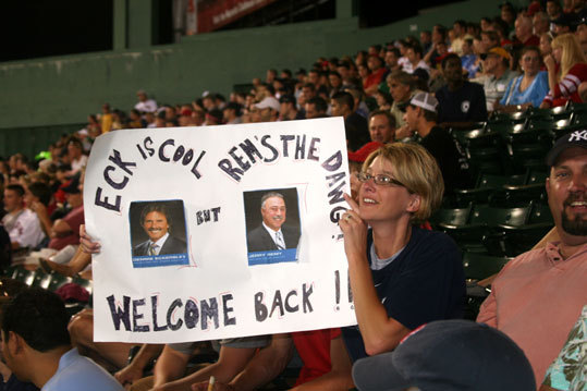 Lorriann Watson, from Clinton, Maine, wanted to make sure Dennis Eckersley got a shout in with all the Jerry Remy hoopla going on. Missing from Watson's sign was any acknowledgment of the color commentary work done by Frank Viola during Remy's absence.